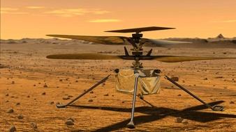 Helióptero Curiosity pousado em marte.